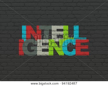 Learning concept: Intelligence on wall background