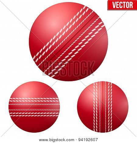Traditional shiny red cricket ball