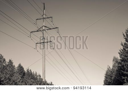 Concrete Column Of A Power Line Color Sepia