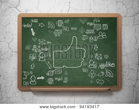 Social network concept: Thumb Up on School Board background