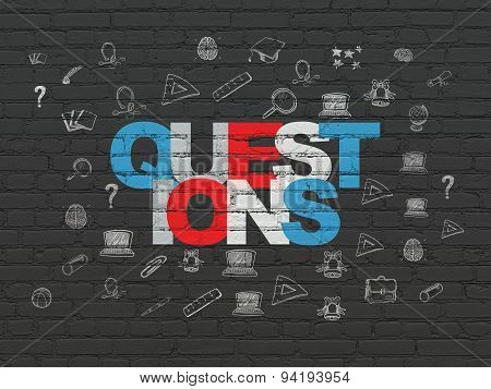 Studying concept: Questions on wall background