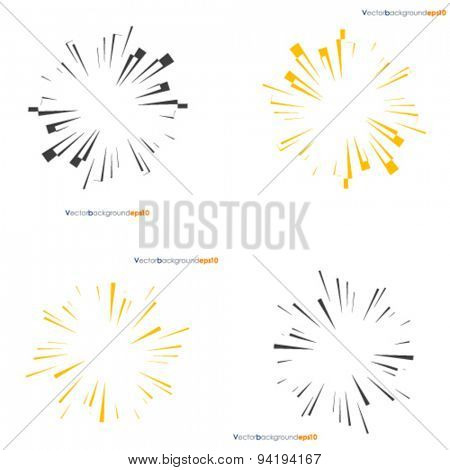 Set of vintage yellow and dark sunbursts