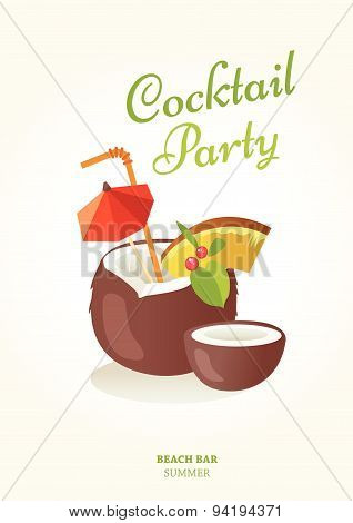 Vector Illustration With Cocktail Bar Poster.