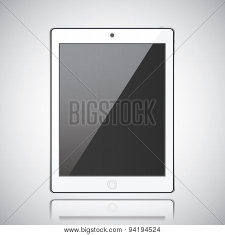New Realistic Tablet Modern Style Grey Background With Reflection