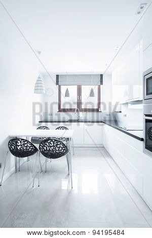White Kitchen In Luxury Apartment