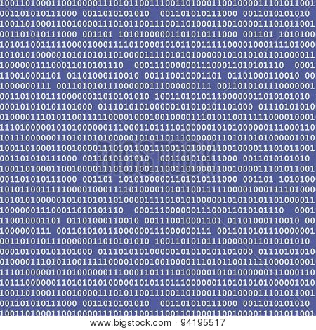 Binary Computer Code Seamless Pattern Vector Background Illustration Black