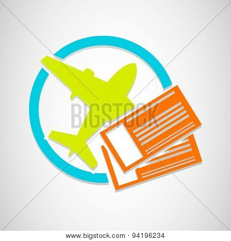 Vector airplane tickets icon for travel and vacation on grey background