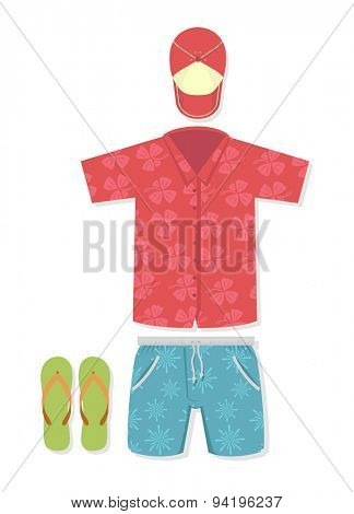 Vector illustration of tourist outfit for vacation, t-shirt, shorts, flip flops