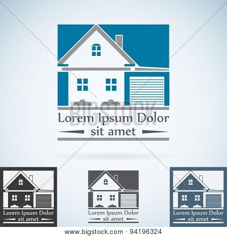 Real Estate Vector Logo Design Template Color Set. House Abstract Concept Icon. Realty Construction