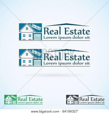 Real Estate Vector Logo Design Template Color Set. House Abstract Concept Icon. Realty Construction