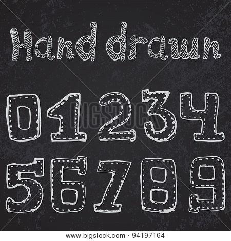 Written Numbers 0-9 Hand Drawn Sketch On Chalkboard