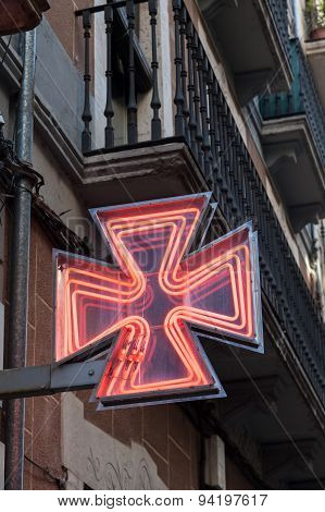 Red Pharmacy Sign