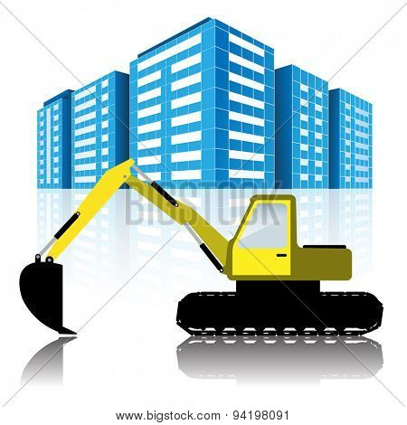 Illustration Excavator and Modern Urban Buildings. Vector.