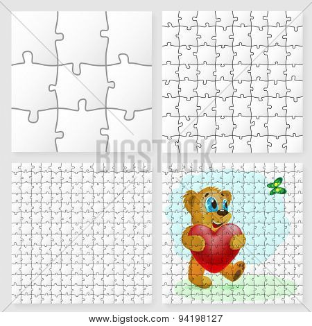 Vector Paper Puzzle. Bear with red Heart. Illustration Background for Design.