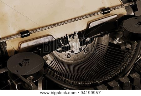 old typewriter with paper, sepia, vector