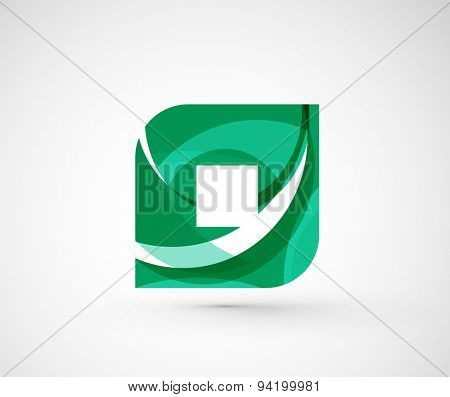 Abstract geometric company logo hexagon shape. Illustration of universal shape concept made of various wave overlapping elements
