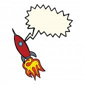 stock photo of spaceships  - cartoon spaceship with speech bubble - JPG