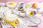 pic of candy  - Making candied violet flowers with egg whites and sugar - JPG