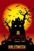 stock photo of mansion  - Halloween illustration pumpkins and a haunted mansion in the twilight - JPG