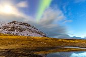 picture of aurora borealis  - The Northern Light Aurora borealis at Kirkjufell Iceland - JPG