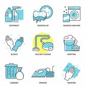 picture of washing machine  - Cleaning vector icons set - JPG