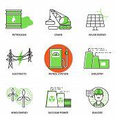 image of petroleum  - Industry vector icons set - JPG