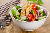 stock photo of chickens  - Salad with grilled chicken in white bowl - JPG