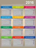 picture of monday  - Portuguese calendar for year 2016 week starts on Monday vector illustration - JPG