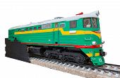 image of locomotive  - the old green locomotive on a white background - JPG