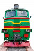 picture of locomotive  - the old green locomotive on a white background - JPG
