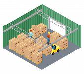 stock photo of pallet  - Warehouse interior - JPG