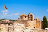 image of yellow castle  - Medieval castle in Calafell town Spain - JPG