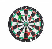 pic of missing  - dartboard and arrows with missed target isolated on whtie background - JPG