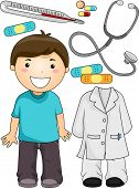 foto of beside  - Illustration of a Little Boy Standing Beside Items Associated with Doctors - JPG