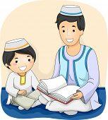 stock photo of muslim man  - Illustration of a Muslim Man Reading the Quran to a Muslim Boy - JPG