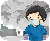 stock photo of polluted  - Illustration of a Little Boy Wearing a Surgical Mask While Walking Around a Polluted City - JPG
