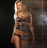 stock photo of stripping women window  - young sexy blond  woman in black lingerie - JPG