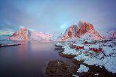 foto of lofoten  - Colorful sunrise over Hamnoy Lofoten islands Norway in winter - JPG