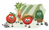 stock photo of animated cartoon  - Set of  Cartoon Vegetables with Clothes in the Garden - JPG