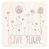 image of red clover  - Clover Meadow with lots of clover flowers and grass on grunge background - JPG