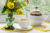 picture of kettles  - Tea drinking in the morning near the window - JPG