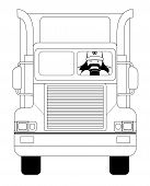 image of big-rig  - Fat round flat cartoon style black beard truck driver - JPG