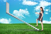 pic of step-up  - Businesswoman stepping up against green field under blue sky - JPG