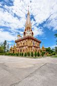 picture of worship  - Beautiful pagoda at Wat Chalong or Wat Chaitararam Temple famous attractions and place of worship in Phuket Province Thailand - JPG
