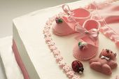 picture of pink shoes  - Details of a decoration of birthday cake for little baby girl - JPG