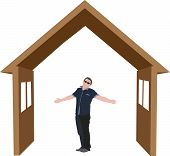 stock photo of open arms  - symbol of house with people inside home with open arms - JPG