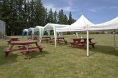 image of gazebo  - Picnic tables and tent gazebos on an outdoor lawn Canby Oregon - JPG