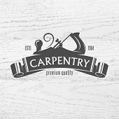 foto of carpenter  - Carpenter design element in vintage style for logo - JPG