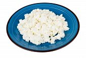image of curd  - Granular curd in blue glass plate isolated on white backgrouns  - JPG