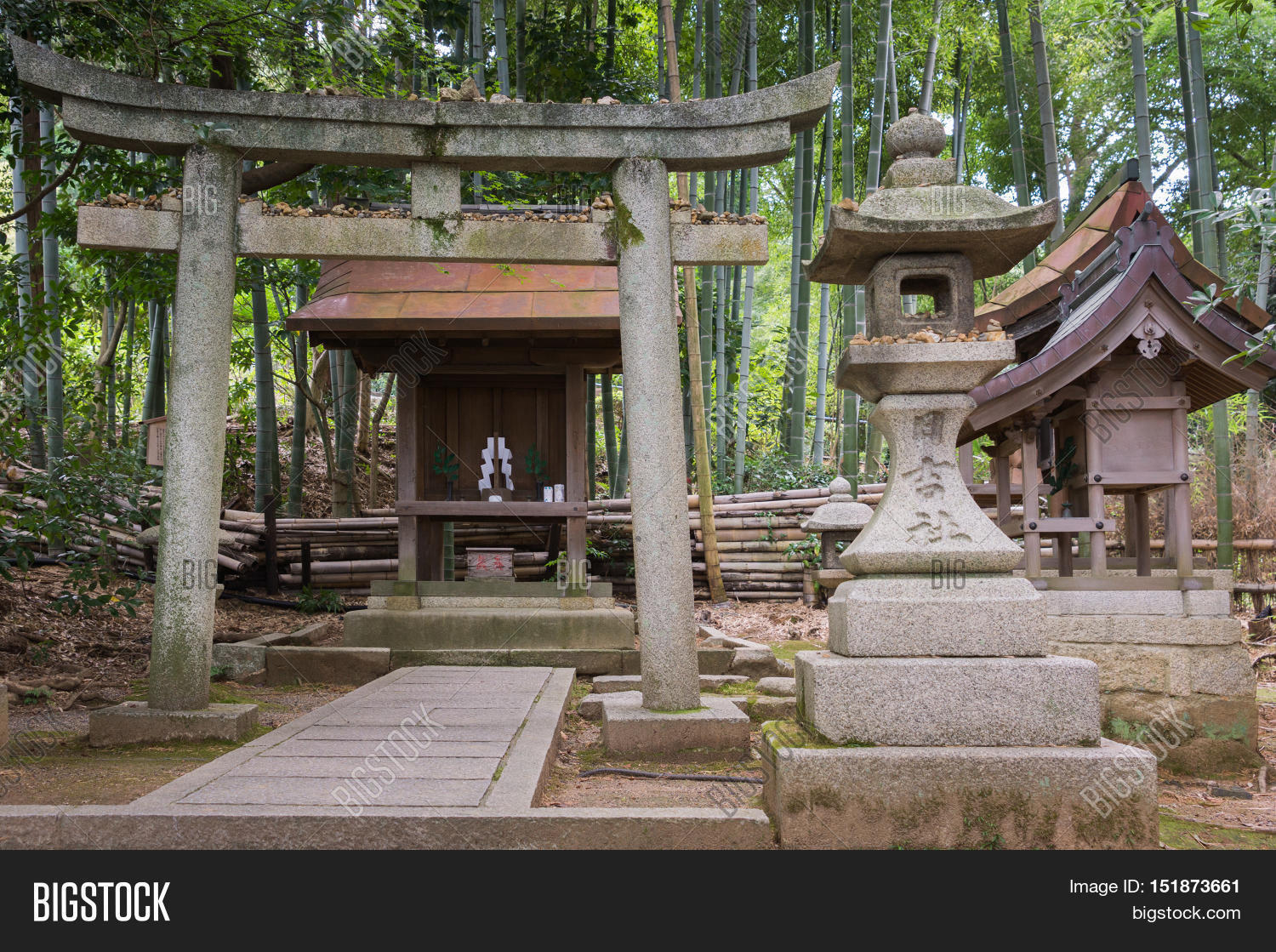 Japanese Garden Structures Kyoto Japan September 16 2016 A Small Shinto Shrine Is Built In